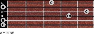 Am9/13/E for guitar on frets 0, 0, 4, 5, 0, 3