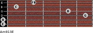 Am9/13/E for guitar on frets 0, 0, 5, 4, 1, 2