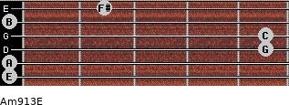 Am9/13/E for guitar on frets 0, 0, 5, 5, 0, 2