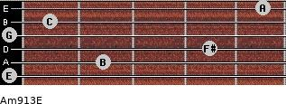 Am9/13/E for guitar on frets 0, 2, 4, 0, 1, 5
