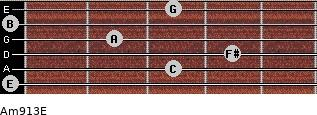 Am9/13/E for guitar on frets 0, 3, 4, 2, 0, 3
