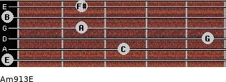 Am9/13/E for guitar on frets 0, 3, 5, 2, 0, 2