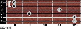 Am9/13/E for guitar on frets 12, 12, 9, 11, 8, 8