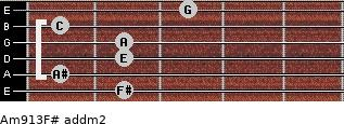 Am9/13/F# add(m2) guitar chord