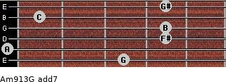 Am9/13/G add(7) guitar chord