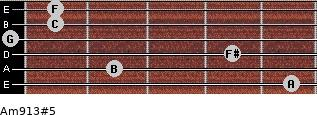 Am9/13#5 for guitar on frets 5, 2, 4, 0, 1, 1
