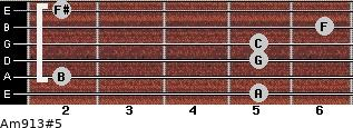Am9/13#5 for guitar on frets 5, 2, 5, 5, 6, 2