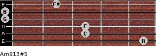 Am9/13#5 for guitar on frets 5, 3, 3, 0, 0, 2
