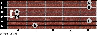 Am9/13#5 for guitar on frets 5, 8, 4, 4, 8, 8