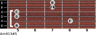 Am9/13#5 for guitar on frets 5, 8, 5, 5, 7, 7