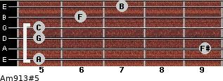 Am9/13#5 for guitar on frets 5, 9, 5, 5, 6, 7