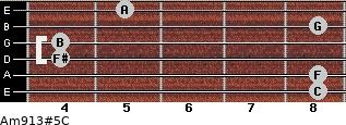 Am9/13#5/C for guitar on frets 8, 8, 4, 4, 8, 5
