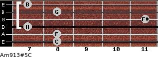 Am9/13#5/C for guitar on frets 8, 8, 7, 11, 8, 7