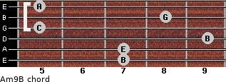 Am9/B for guitar on frets 7, 7, 9, 5, 8, 5