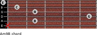 Am9/B for guitar on frets x, 2, 5, 2, 1, 0