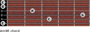 Am9/E for guitar on frets 0, 3, 5, 2, 0, 0
