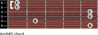 Am9#5 for guitar on frets 5, 2, 5, 5, 1, 1