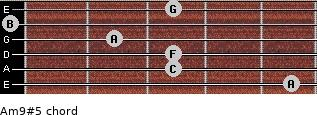 Am9#5 for guitar on frets 5, 3, 3, 2, 0, 3