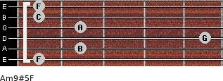 Am9#5/F for guitar on frets 1, 2, 5, 2, 1, 1