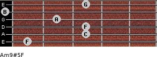 Am9#5/F for guitar on frets 1, 3, 3, 2, 0, 3