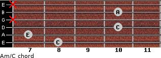 Am/C for guitar on frets 8, 7, 10, x, 10, x