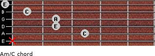 Am/C for guitar on frets x, 3, 2, 2, 1, 0
