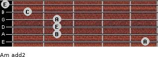 Am add(2) for guitar on frets 5, 2, 2, 2, 1, 0