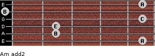 Am add(2) for guitar on frets 5, 2, 2, 5, 0, 5