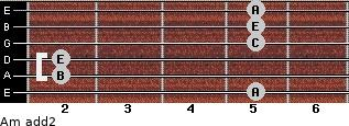 Am add(2) for guitar on frets 5, 2, 2, 5, 5, 5