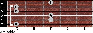 Am add(2) for guitar on frets 5, 7, 7, 5, 5, 7