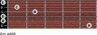 Am add(4) for guitar on frets 5, 0, 0, 2, 1, 0