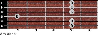 Am add(4) for guitar on frets 5, 5, 2, 5, 5, 5