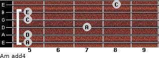 Am add(4) for guitar on frets 5, 5, 7, 5, 5, 8