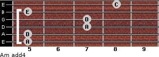 Am add(4) for guitar on frets 5, 5, 7, 7, 5, 8