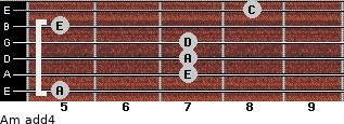 Am add(4) for guitar on frets 5, 7, 7, 7, 5, 8