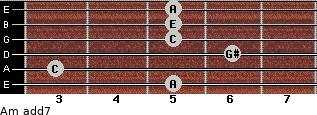 Am(add7) for guitar on frets 5, 3, 6, 5, 5, 5