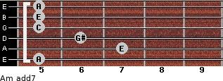 Am(add7) for guitar on frets 5, 7, 6, 5, 5, 5
