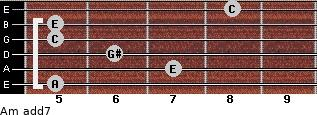 Am(add7) for guitar on frets 5, 7, 6, 5, 5, 8