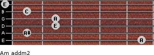 Am add(m2) for guitar on frets 5, 1, 2, 2, 1, 0