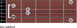 Am add(m2) for guitar on frets 5, 1, 2, 2, 1, 5