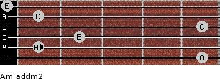 Am add(m2) for guitar on frets 5, 1, 2, 5, 1, 0