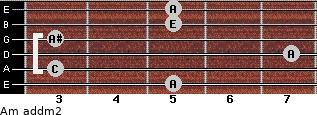Am add(m2) for guitar on frets 5, 3, 7, 3, 5, 5
