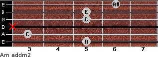 Am add(m2) for guitar on frets 5, 3, x, 5, 5, 6