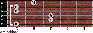 Am add(m2) for guitar on frets 5, 7, 7, 5, 5, 6