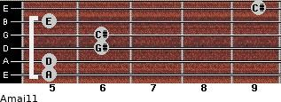 Amaj11 for guitar on frets 5, 5, 6, 6, 5, 9