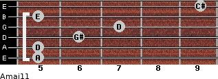Amaj11 for guitar on frets 5, 5, 6, 7, 5, 9