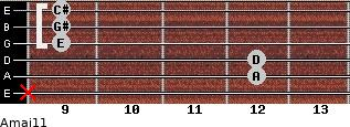 Amaj11 for guitar on frets x, 12, 12, 9, 9, 9