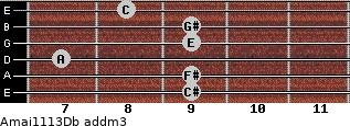 Amaj11/13/Db add(m3) guitar chord