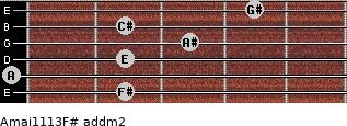Amaj11/13/F# add(m2) guitar chord