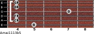 Amaj11/13b5 for guitar on frets 5, 4, 4, 7, 4, 4
